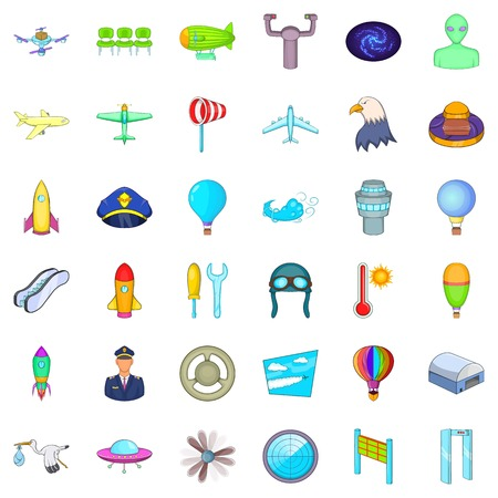 Illustration pour Flight icons set. Cartoon style of 36 flight vector icons for web isolated on white background - image libre de droit
