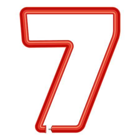 Number seven plastic tube icon. Cartoon illustration of number seven plastic tube vector icon for web