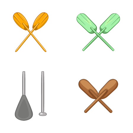 Paddles icon set. Cartoon set of paddles vector icons for web design isolated on white background