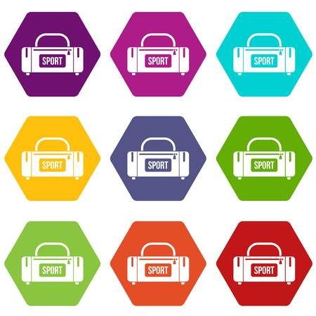 Large sports bag icon set many color hexahedron isolated on white vector illustration