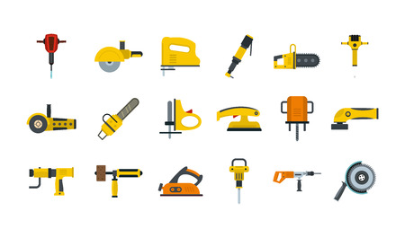 Illustration for Electric tools icon set, flat style - Royalty Free Image