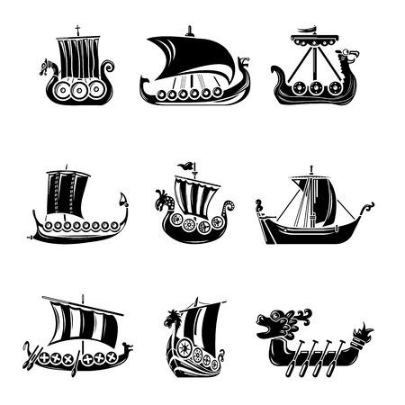 Illustration pour Viking ship boat drakkar icons set, simple style - image libre de droit