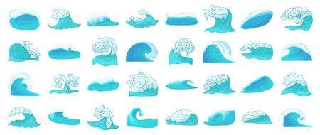 Ilustración de Wave icon set, cartoon style - Imagen libre de derechos