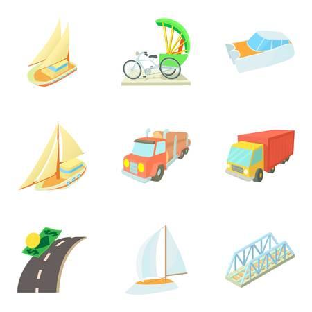 Photo pour Means of transportation icons set, cartoon style vector illustration - image libre de droit