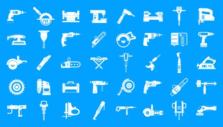 Illustration for Electric tools icon blue set vector - Royalty Free Image