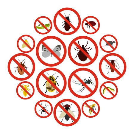Ilustración de Flat no insect sign icons set. Universal no insect sign icons to use for web and mobile UI, set of basic no insect sign elements isolated vector illustration - Imagen libre de derechos