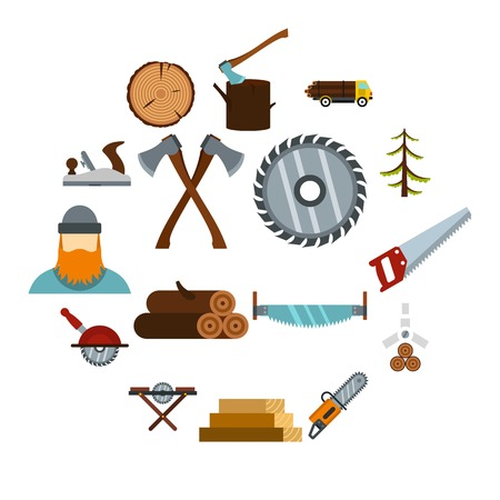 Illustration pour Timber industry icons set in flat style. Lumberjack equipment set collection vector illustration - image libre de droit