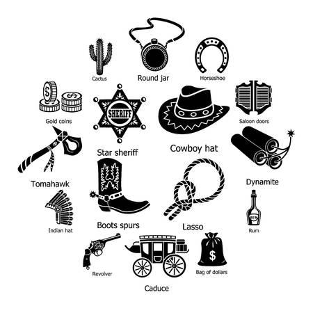 Ilustración de Wild west icons set. Simple illustration of 16 wild west vector icons for web - Imagen libre de derechos