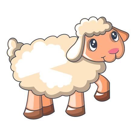 Ilustración de Funny sheep cartoon style icon - Imagen libre de derechos