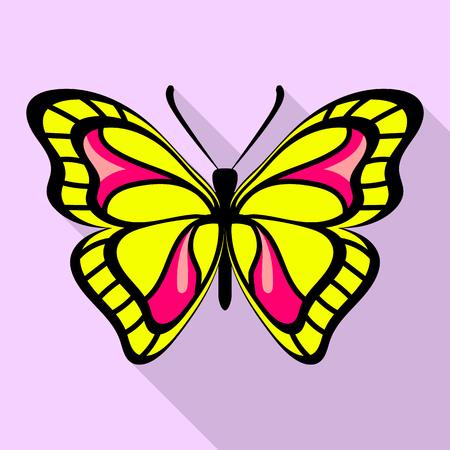 Illustrazione per Yellow butterfly icon, flat style - Immagini Royalty Free