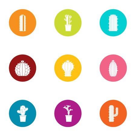 Ilustración de Cactus icons set, flat style - Imagen libre de derechos