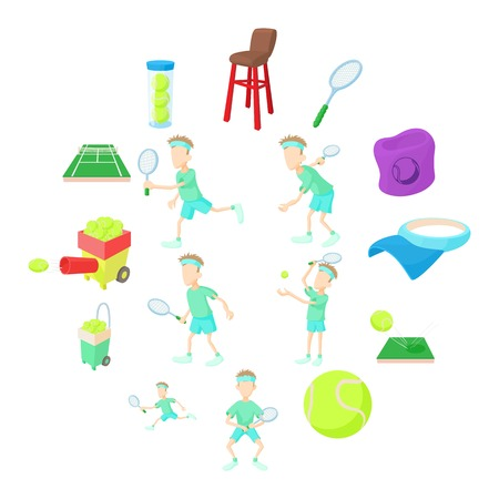 Ilustración de Tennis icons set in cartoon style isolated on white background - Imagen libre de derechos