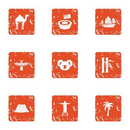 Illustration pour American continent icons set, grunge style - image libre de droit