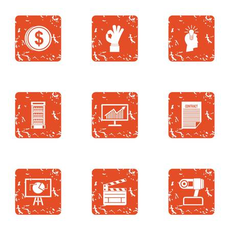Illustrazione per Loose change icons set, grunge style - Immagini Royalty Free