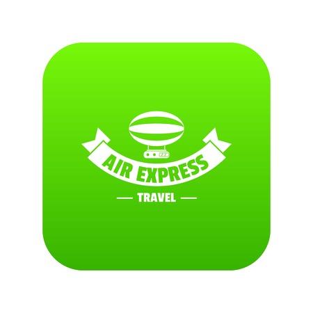 Illustration pour Tourism dirigible icon green vector - image libre de droit
