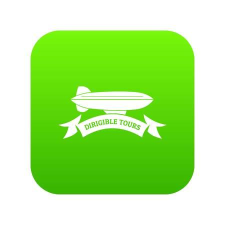 Illustration pour Trip dirigible icon green vector - image libre de droit