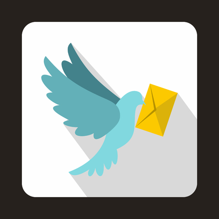 Foto de Dove carrying envelope icon in flat style on a white background - Imagen libre de derechos