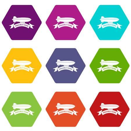 Illustration pour Trip dirigible icons 9 set coloful isolated on white for web - image libre de droit