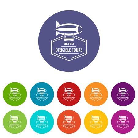 Illustration pour Dirigible icons set vector color - image libre de droit