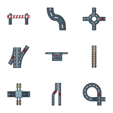 Illustration pour Driveway icons set. Flat set of 9 driveway vector icons for web isolated on white background - image libre de droit
