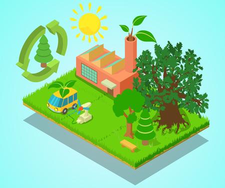 Ilustración de Eco place concept banner. Isometric banner of eco place vector concept for web, giftcard and postcard - Imagen libre de derechos