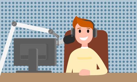 Illustration pour Speaker man radio on air concept banner. Flat illustration of speaker man radio on air vector concept banner for web design - image libre de droit