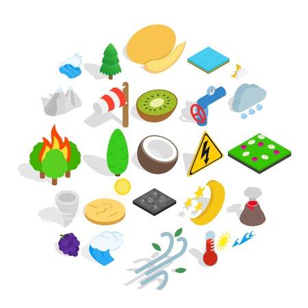 Ilustración de Nature activity icons set, isometric style - Imagen libre de derechos