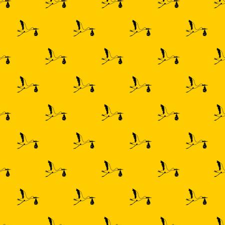 Illustration pour Stork carrying pattern seamless vector repeat geometric yellow for any design - image libre de droit