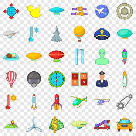 Illustration pour Aircraft icons set, cartoon style - image libre de droit