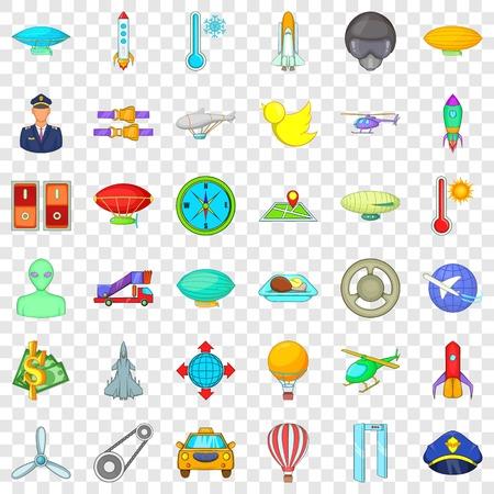 Illustration pour Flying transport icons set, cartoon style - image libre de droit