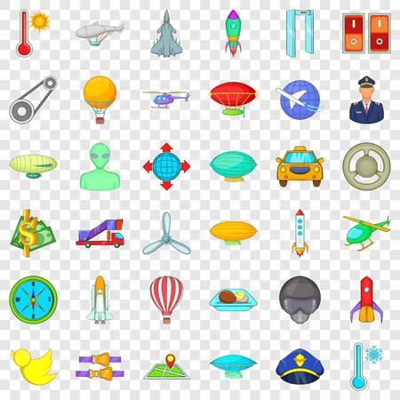 Illustration pour Aviation icons set, cartoon style - image libre de droit