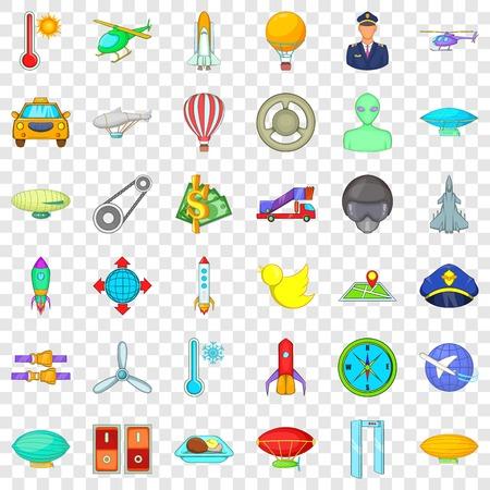 Illustration pour Air transportation icons set, cartoon style - image libre de droit