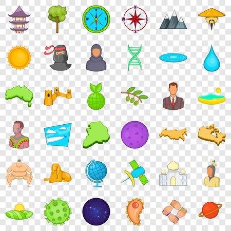 Big world icons set, cartoon style