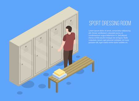 Photo for Sport dressing room banner. Isometric illustration of sport dressing room vector banner for web design - Royalty Free Image