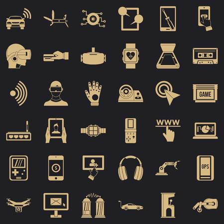 Illustration pour Screen adjustment icons set, simple style - image libre de droit