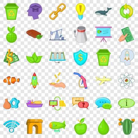 Illustration pour Eco protection icons set, cartoon style - image libre de droit
