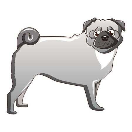 Illustrazione per Silver pug dog icon, cartoon style - Immagini Royalty Free