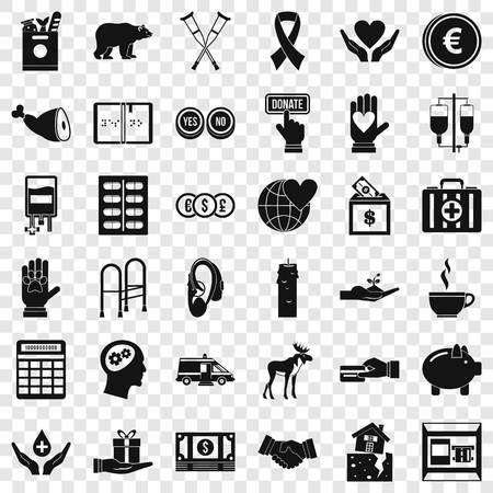 Illustration pour Donation in medicine icons set, simple style - image libre de droit