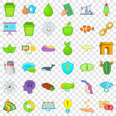 Illustration pour Ecology care icons set, cartoon style - image libre de droit
