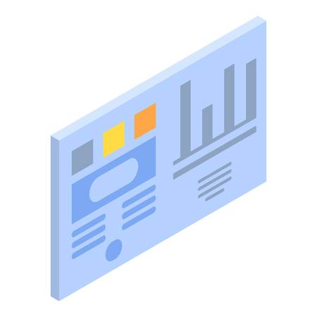Ilustración de Graph chart card icon, isometric style - Imagen libre de derechos