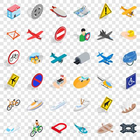 Illustration pour Transportation icons set, isometric style - image libre de droit