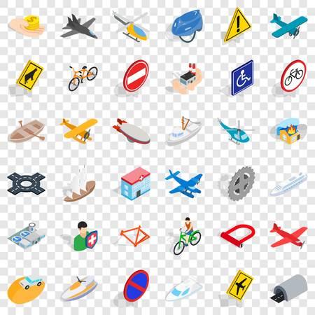 Illustration pour Crossroad icons set, isometric style - image libre de droit