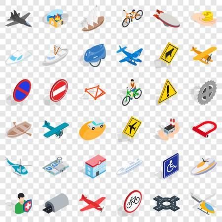 Illustration pour Tunnel icons set, isometric style - image libre de droit
