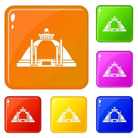 Ilustración de Polonnaruwa, ancient stupa icons set vector color - Imagen libre de derechos