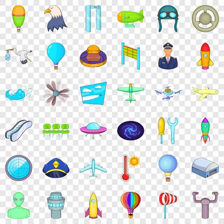 Illustration pour Flight icons set. Cartoon style of 36 flight vector icons for web for any design - image libre de droit
