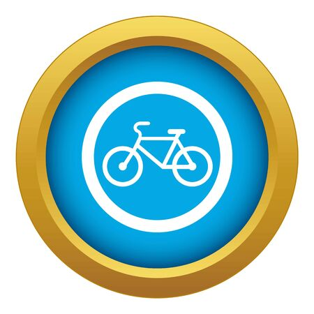 Illustrazione per Travel by bicycle is prohibited traffic sign icon blue vector isolated on white background for any design - Immagini Royalty Free
