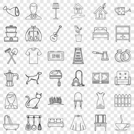 Illustrazione per Lifestyle icons set, outline style - Immagini Royalty Free