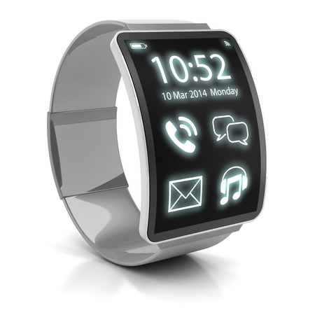 Foto per Smartwatch, 3d render, white background. This is my own 3d design. - Immagine Royalty Free