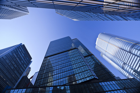Foto de Syscrapers in Hong Kong in daytime, blue tone - Imagen libre de derechos