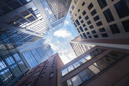 Photo for Skyscrapers against blue sky in downtown Melbourne, Australia - Royalty Free Image